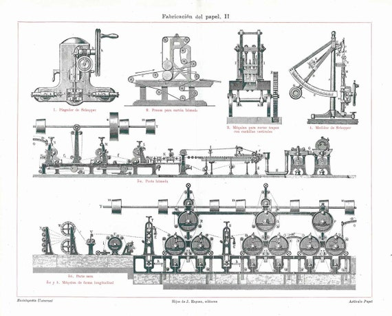 Papermaking Machines Vintage Offset Lithograph 1923 Black and White