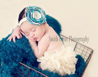 Elegant Aqua Blue and Ivory Cinged Rosette Headband