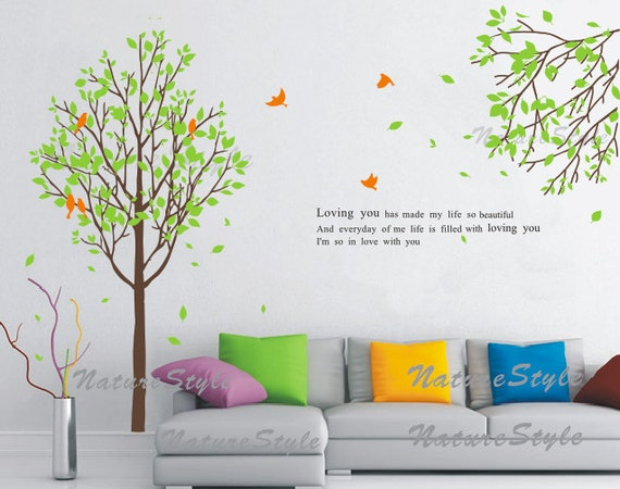 tree wall decals nursery decal baby vinyl sticker birds wall decal Nature Design -Tree with Branch and Flying Birds