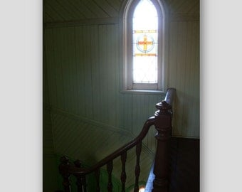Greeting card - Stained glass window, staircase, St. Patrick's church, Prince Edward Island card, wedding card, anniversary card