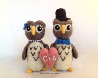 Wedding Owls - AdoraWools - Bride and Groom With Pom Pom Banner- Custom Designed Just for You - Any Colors You want