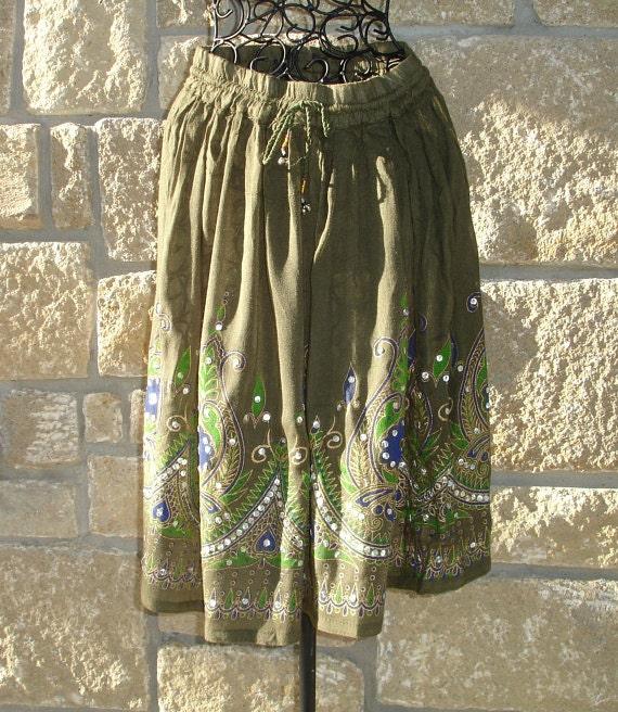 Green Mini Skirt: Bohemian Skirt, Short Olive Army Khaki  Flowy Indian Gypsy Skirt or Boho Floral Cover Up