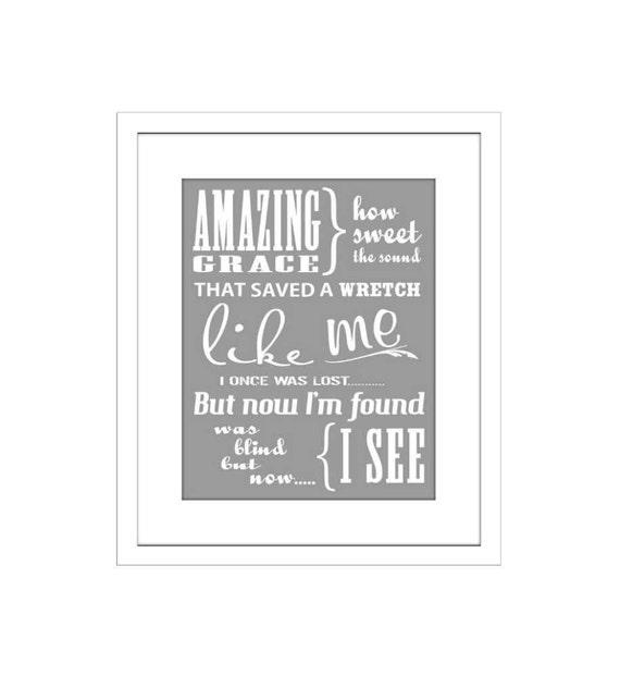 Amazing Grace, Word Art, Inspirational Song Lyrics,Typography, Art Print, Poster