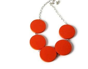 Orange Necklace - Neon Jewelry - Statement Necklace - Chunky Wood Necklace - Orange Wood Necklace - Geometric Jewelry - Orange Neon Necklace