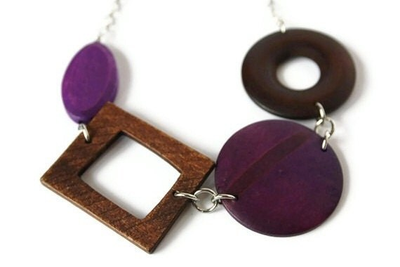 Purple and Brown Geometric Wood Necklace in Chunky Style, Chocolate Brown and Dark Purple