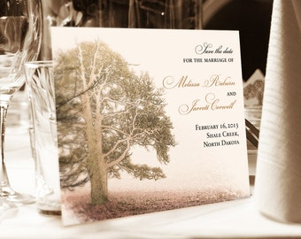 Save the Date for Autumn or Winter, Tree in Meadow, Countryside Rustic Wedding, Woodland Wedding