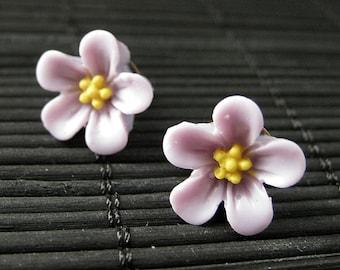 Light Purple Flower Earrings. Forget Me Not Flower Earrings with Bronze Stud Earrings. Flower Jewelry. Handmade Jewelry.