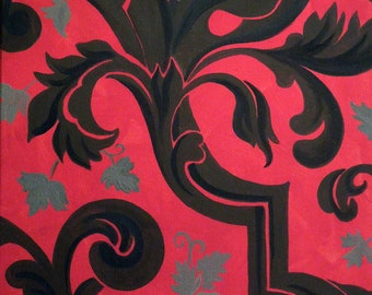 Painting Old World Damask inspired,with a Bold, Modern Twist.