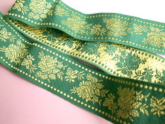 12 meters Vintage Woven Floral Trim 34mm Green Yellow Roses Flowers Expensive Chick Tape Decorative Ribbon Sewing Supplies