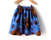 Girls African Wax Print Skirt in Beautiful Cotton