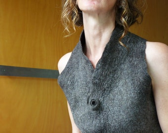 Felted Designer Women's Clothes Brown vest size XS felted