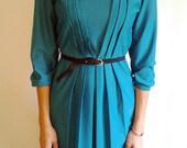 Vintage M Teal Pleated Dress