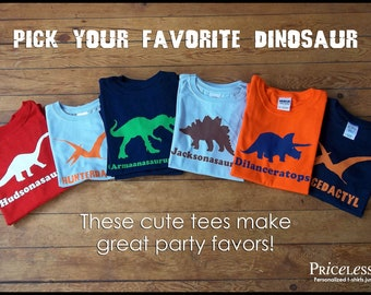 Personalized dinosaur birthday shirt, kids dinosaur shirt, choose your favorite dinosaur, dinosaur birthday shirt, gift for kids
