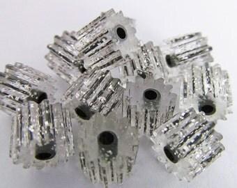 30 Vintage 6x8  Lucite Silver Glitter Black Tube Beads Bd270
