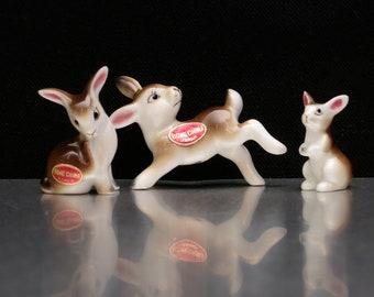 Miniature Rabbit Vintage Figurines. Bunny Figurine.