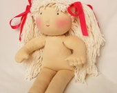 """Waldorf  doll 15""""  with BLOND hair without clothes - pure natural organic"""
