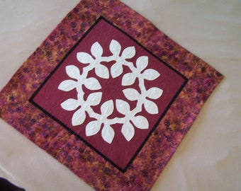 Maile Leaves Hawaiian Quilted Wall Hanging, ClaretRed  hand quilted  Ready to ship
