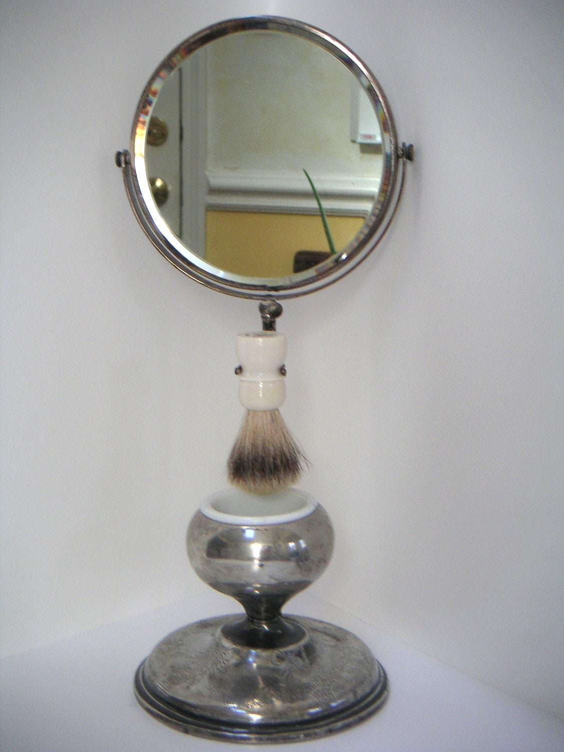 Vintage shaving mirror with shaving mug and brush for Shaving mirror