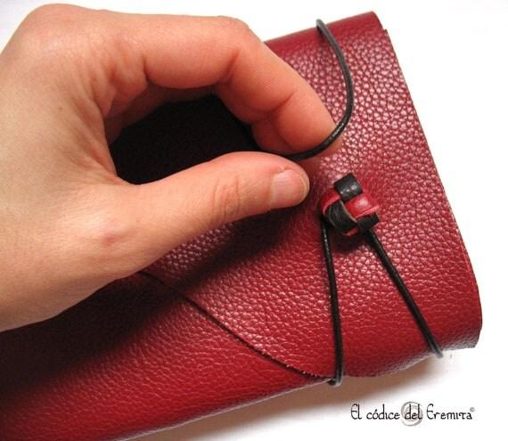 Handmade Leather Journal. Red Leather. Burgundy MEDITATIO