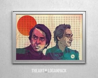 SCIENCE - Carl Sagan & Richard Feynman - Original Art Poster