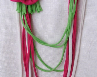 Pink, Green and White Infinity Shirt Scarf with detachable flower