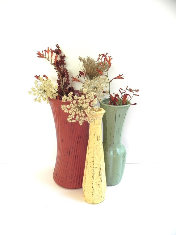 Shabby Chic Upcycled Glass Vases... Painted Fall Colors... Thanksgiving Decor... Holiday Decor