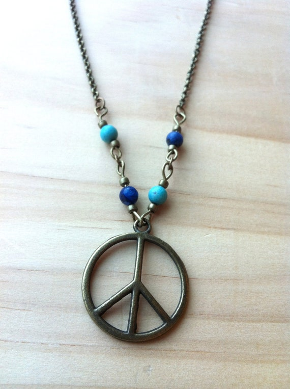 Items similar to Peace Sign with Turquoise & Jasper ...