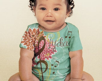 Personalized Baby Girl Music Note Shirt, Treble Clef Infant Snap-Suit, Custom Outfit