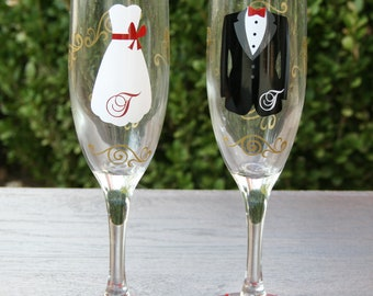 Bride and Groom Champagne Flutes, Perfect Glasses for Toasting