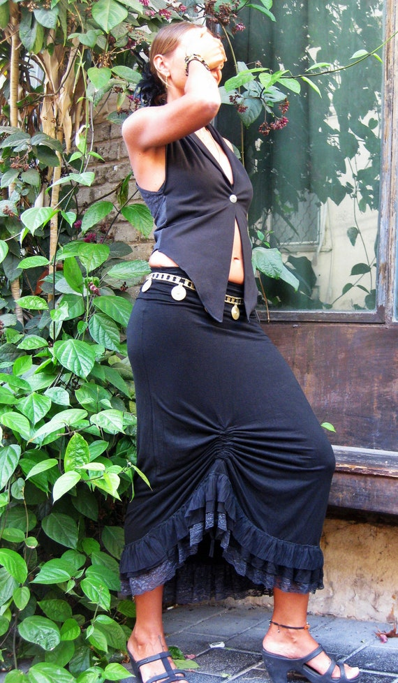 Gypsy Maxi Skirt, Flamenco Skirt, Goddess black Skirt, Bohemian Lace maxi Skirt