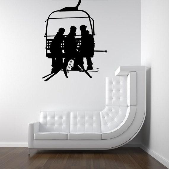 Ski Lift Chair, Ski Decor, Chair Lift, Snowboard Art, Snowboard Decor, Snowboard Decal, Vinyl Decal, Sticker, Winter, Wall Art, Home Decor