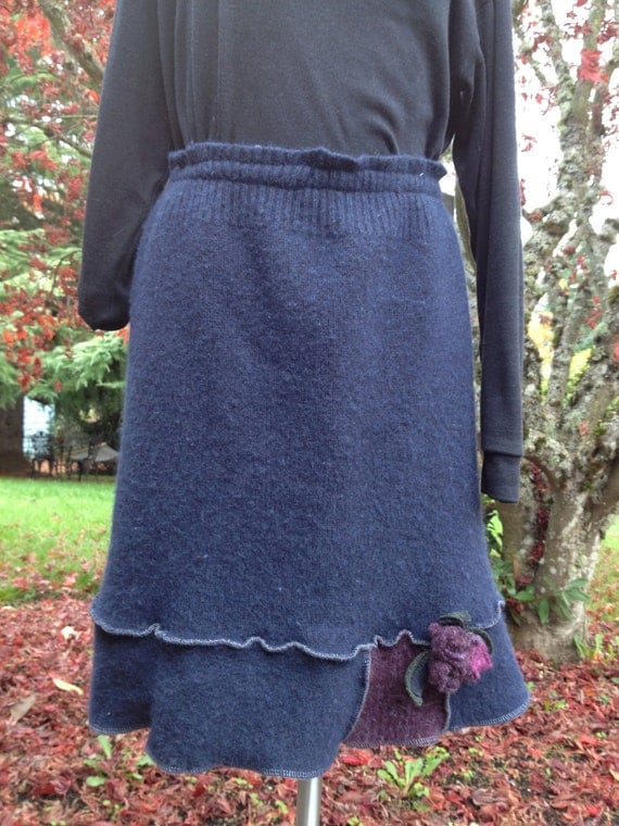 Felted Wool Skirt Recycled Sweater Navy Plum Rose Pin Large XL