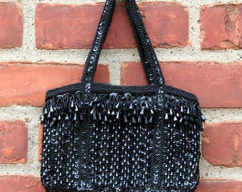 Bead and Sequin Black Purse 1960s