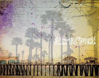 Huntington Beach Summers. California Nautical Map Pier  Art