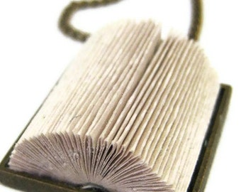 Origami Paper Folded Book Necklace in Antique Bronze - Rectangle or Square