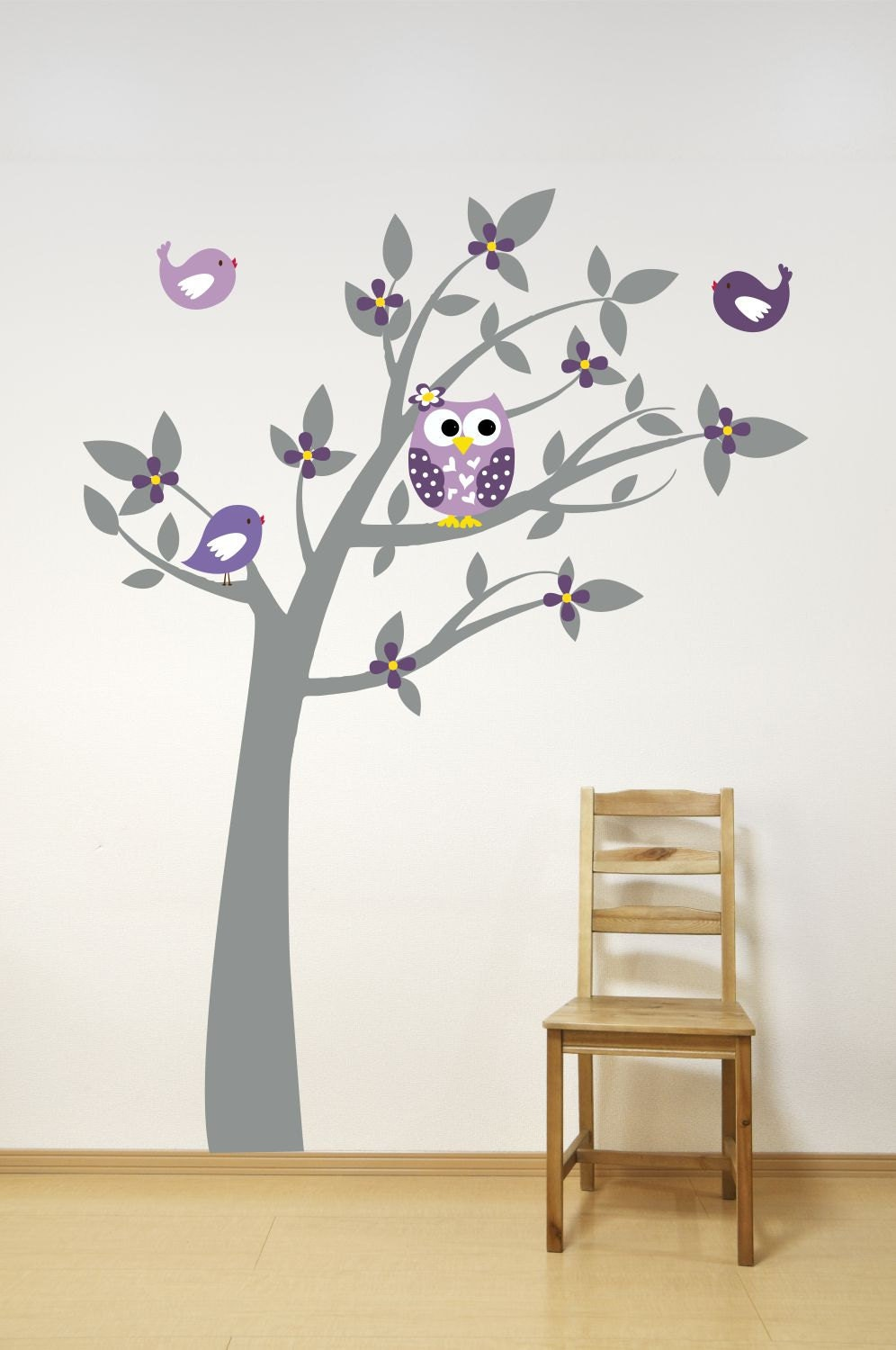 Tree with owl birds and leaves wall decal playroom decor for Decoration autocollant mural