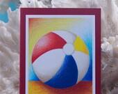 Beach Ball - Primary Colors - Handmade Card