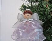 Light Purple Ribbon Angel Ornament