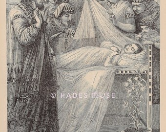 Great Cry In Egypt- Death Of Pharaoh's First Born Son-Engraving-1887 Antique Vintage Art PRINT-Exodus-Egyptian-Bible-Moses
