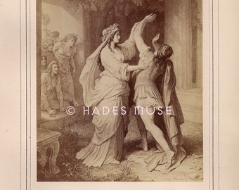 Sister Returns From Grave-Pursued By Furies-Haunted Brother-Poetry-Poem-Goethe-1800's Antique Vintage Art PRINT-Ephemera-Engraving-Gothic