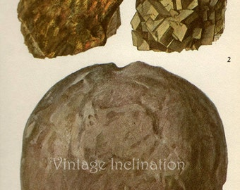 Antique Prints, 1950s  Precious Stones and Minerals, beautiful wall art vintage coloured illustration gems jewels