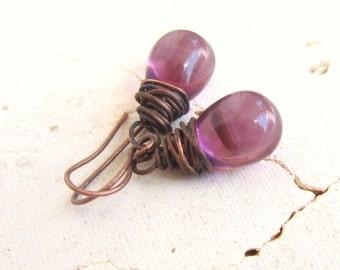 Amethyst Glass Drop Earrings. Purple Earrings. Copper Wire Wrapped Earrings. Briolette Dangle Earrings. Purple Jewelry. Amethyst Jewelry