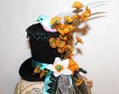 Turquoise & Black Hand Beaded, Cutie Bird w/Yellow Daisies Tiny Top Hat - Bid Hat - Great Gift