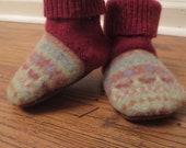 Recycled Wool Sweater Baby Boot Slipper Shoes Fair Isle and Cranberry