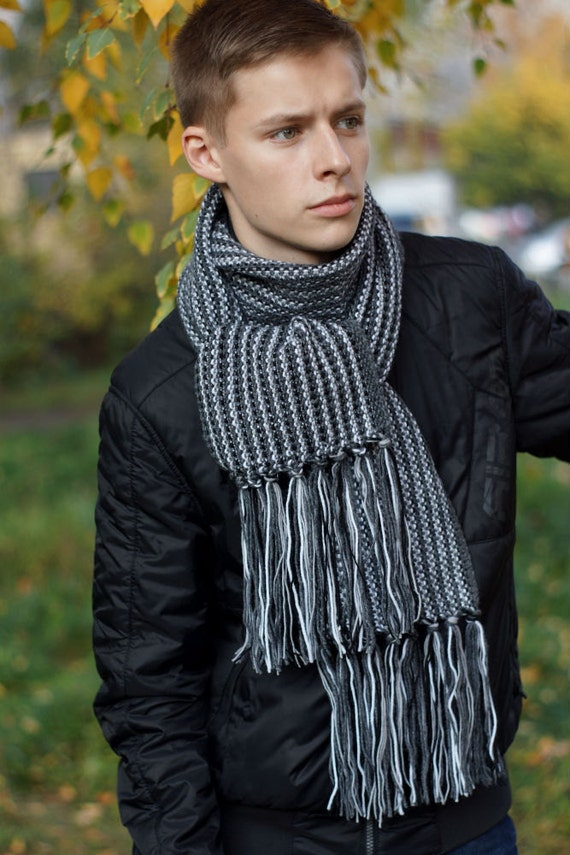 Hand knit Men's gray Scarf for him