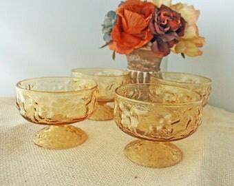 """SALE was 14.00 Vintage Anchor Hocking- Set of Four, Amber Pedestal Sherbert, Dessert Glasses  """"Lido"""" pattern"""