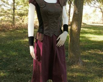 Modest Historical Leather Costume set--- Made To Order--- Renaissance, Greek, Medieval, Roman, Viking, Warrior etc...