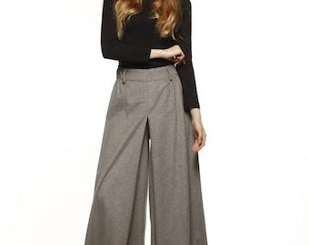 Casual Elastic Waist Wide leg Long Skirt Pants in Grey - NC477