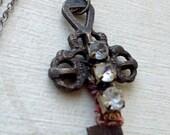 Antique Rhinestone Skeleton Key Necklace