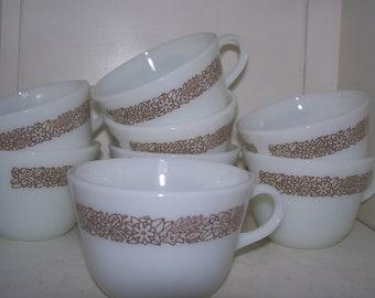 Woodland Brown Pyrex Coffee Mugs Set of 8